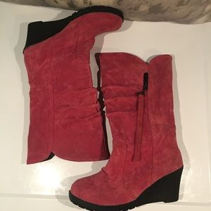 BNWOB PINK SUEDE WEDGE BOOTS SIZE 38–GORGEOUS!!